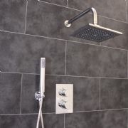 Thermostatic 2 Way Shower Valve | 2 Round Handles with Rectangle Overhead Shower Drencher & Handset | EcoSpa®